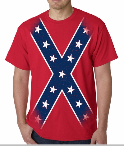 Confederate Flag T-shirt - Large Print Confederate Rebel Pride T-Shirt<!-- Click to Enlarge-->