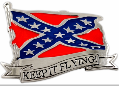 "Confederate ""Keep It Flying"" Belt Buckle With FREE Belt<!-- Click to Enlarge-->"