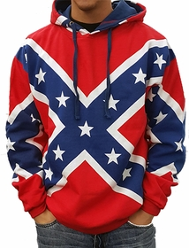 Confederate Rebel Flag All Over Adult Hoodie