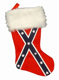 Full Size Confederate Rebel Flag Christmas Stocking (9 Inches Wide x 18 Inches Long)