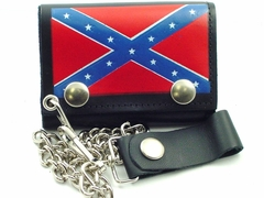 Confederate Rebel Flag Genuine Leather Chain Wallet