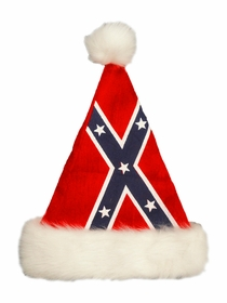 Confederate Rebel Flag Santa Adult Hat