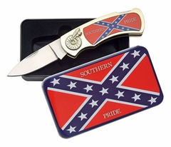 Confederate Rebel Flag Southern Pride Flip Knife and Tin Case