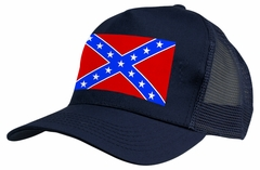 Confederate Rebel Flag Trucker Hat (Navy Blue)