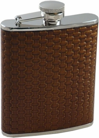 Cross Weave Hip Flask (Brown)