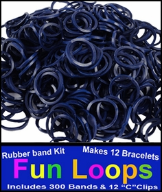 Dark Blue Rubberband Looms - 300 Fun Loop Pieces