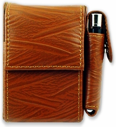 Deluxe Distressed Leather Cigarette and Lighter Case (For Regulars)