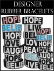 Designer Rubber Saying Bracelets