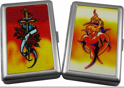 Designer Tattoo Style Cigarette Case (Regular Size & 100's)<!-- Click to Enlarge-->