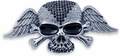 Designer Winged Rhinestone Skull Buckle With FREE Belt