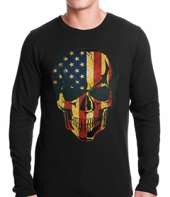 Distressed American Flag Skull Thermal Shirt