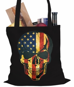 Distressed American Flag Skull Tote Bag