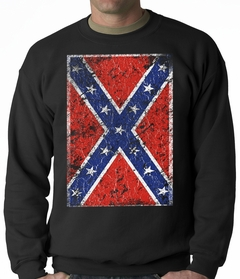 Distressed Confederate Flag Adult Crewneck
