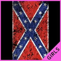 Distressed Confederate Flag Ladies T-shirt