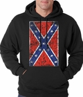 Distressed Confederate Rebel Flag Hoodie (Black) **On Sale**