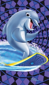 Dolphin Surfing The Waves Velour Beach Towel