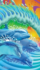 Dolphins Dancing in the Waves Velour Beach Towel
