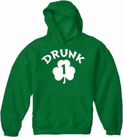 Drunk 1 Irish Shamrock Adult Hoodie