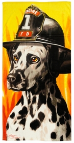 Engine 1 Fire Dog Beach Towel