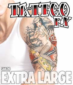 Extra Large Temporary Tattoo - Sailor (Arm - Half Sleeve)