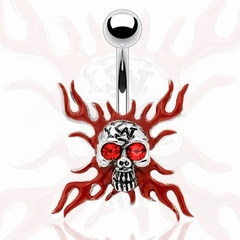 Navel Body Jewelry - Fire Skull w/Rhinestones Belly Button Ring