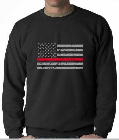 Firefighter Thin Red Line American Flag - Support Firefighter Department Horizontal Adult Crewneck<!-- Click to Enlarge-->