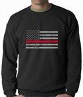 Firefighter Thin Red Line American Flag - Support Firefighter Department Horizontal Adult Crewneck