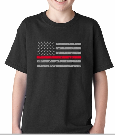 Firefighter Thin Red Line American Flag - Support Firefighter Department Horizontal Kids T-shirt<!-- Click to Enlarge-->