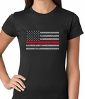 Firefighter Thin Red Line American Flag - Support Firefighter Department Horizontal Ladies T-shirt