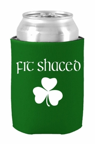 Fit Shaced (Shit Faced) St. Patricks Day Shamrock Drinking Koozie (Kelly Green)