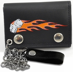 Flaming Dice Genuine Leather Chain Wallet