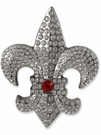 Fleur Di Lis Rhinestone Belt Buckle With FREE Leather Belt