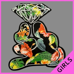 Floral Cartoon Diamond Hand Girls T-shirt