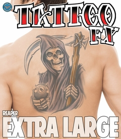 Temporary Tattoo (full back) - Biker Reaper with Eight Ball