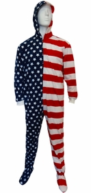Fun Footies - American Flag Unisex Adult Feety Pajamas
