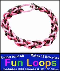 Fun Loops Rainbow Band Bracelets -Black & Pink