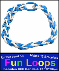 Fun Loops Rainbow Band Bracelets - Blue & White