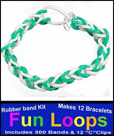 Fun Loops Rainbow Band Bracelets - Green & White