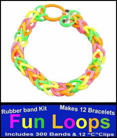 Fun Loops Rainbow Band Bracelets - Neon Rainbow