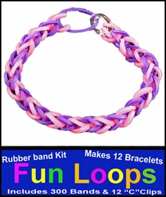 Fun Loops Rainbow Band Bracelets - Purple & Pink
