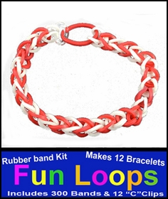 Fun Loops Rainbow Band Bracelets - Red & White