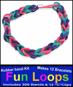 Fun Loops Rainbow Band Bracelets - Turquoise, Pink & Purple
