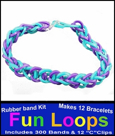 Fun Loops Rainbow Band Bracelets - Turquoise & Purple