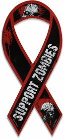 Funny & Novelty Magnets - Support Zombies Skulls Car Ribbon Magnet