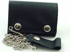 Genuine Leather Chain Wallet (Plain Black)