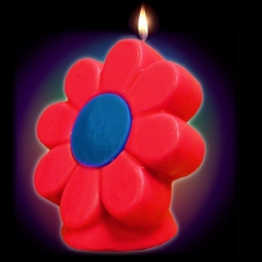 "Giant 6"" Daisy Flower Candle (Glows Under Blacklight)"