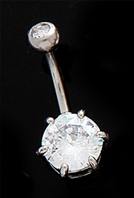 Giant C.Z. Solitaire Belly Ring