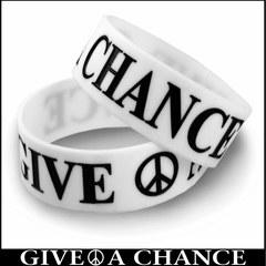 Give Peace A Chance Designer Rubber Saying Bracelet (White)