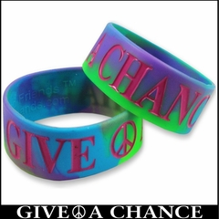 Give Peace a Chance Tie Dye Designer Rubber Saying Bracelet