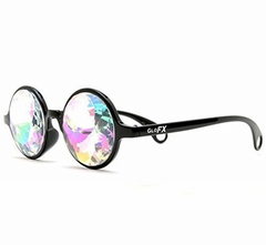 GloFX Black Kaleidoscope Rave Glasses - Rainbow Diffraction